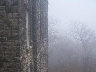 Brick wall in fog