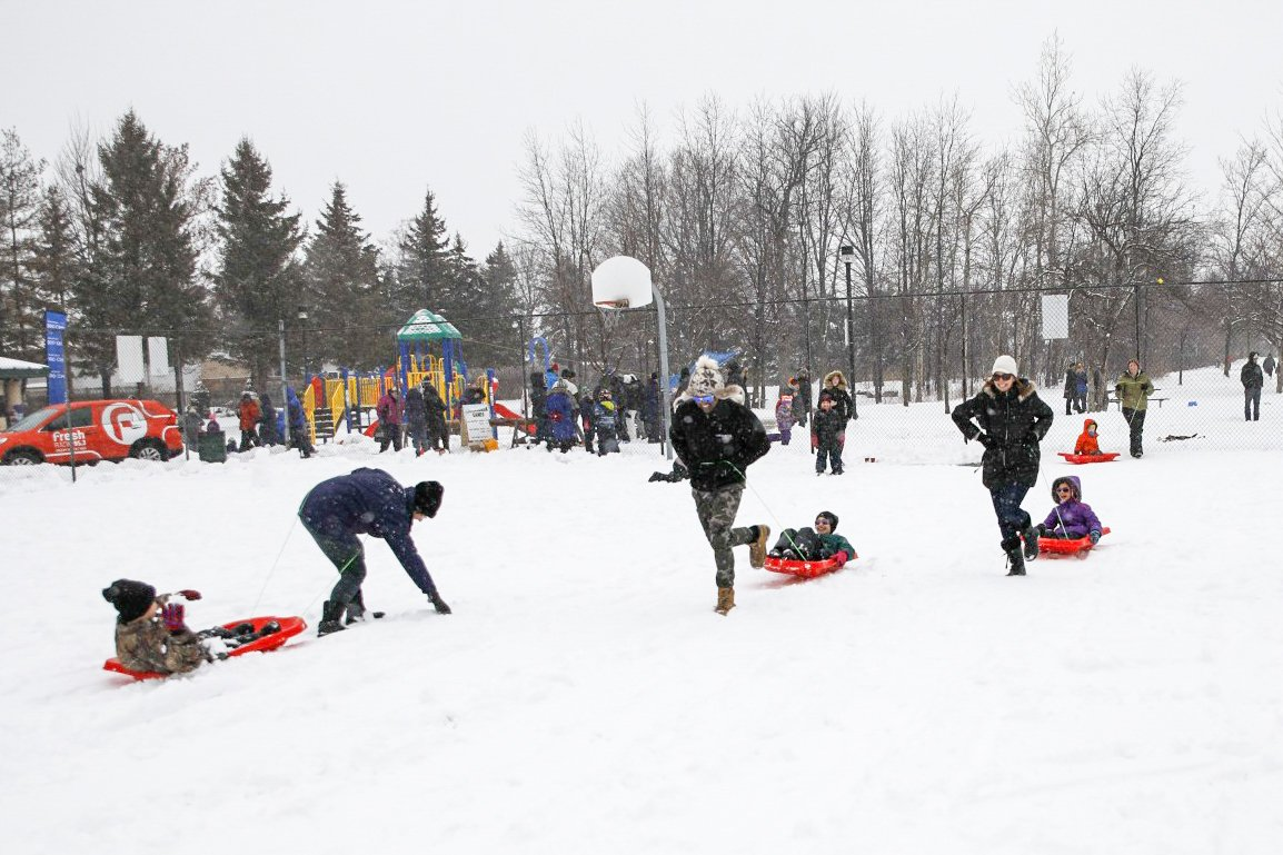 Families playing games at Winterfest