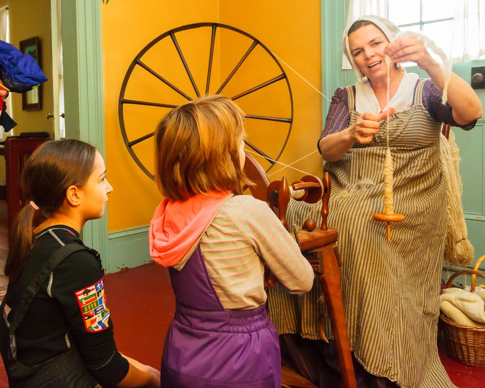 Museum staff with children