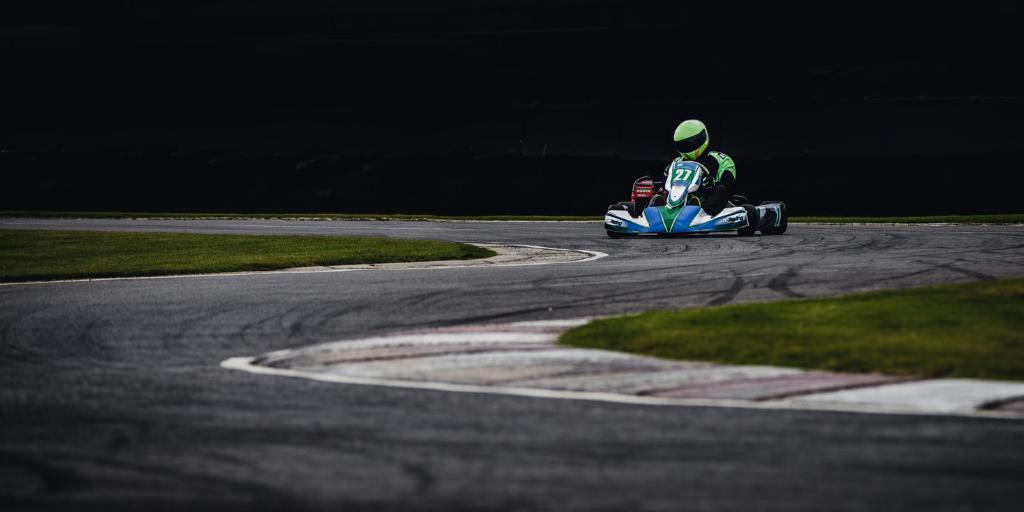 Go-kart rider on track