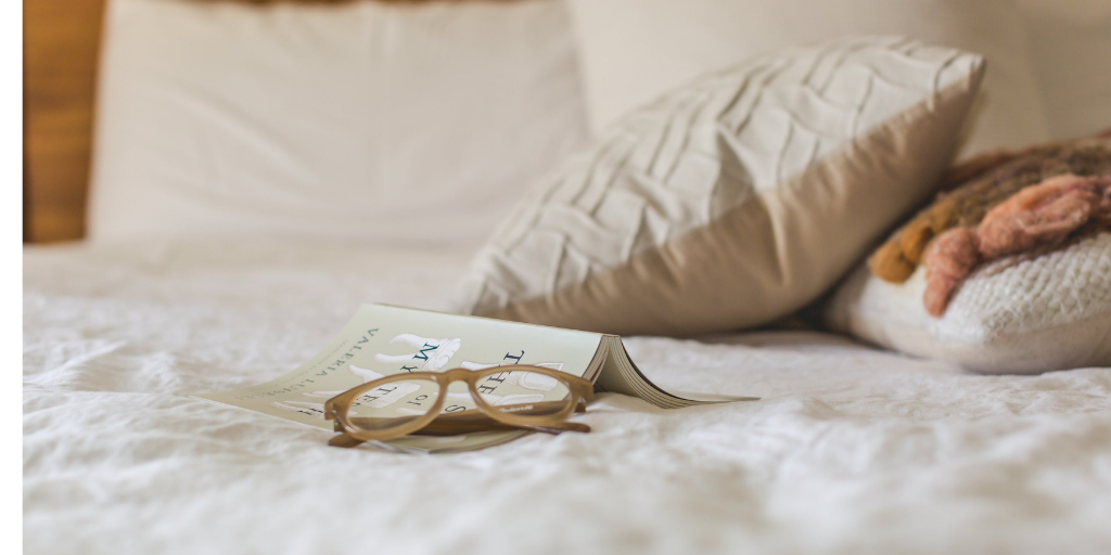 Glasses on bed
