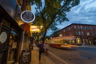 Evening street shot with Bar Sazerac