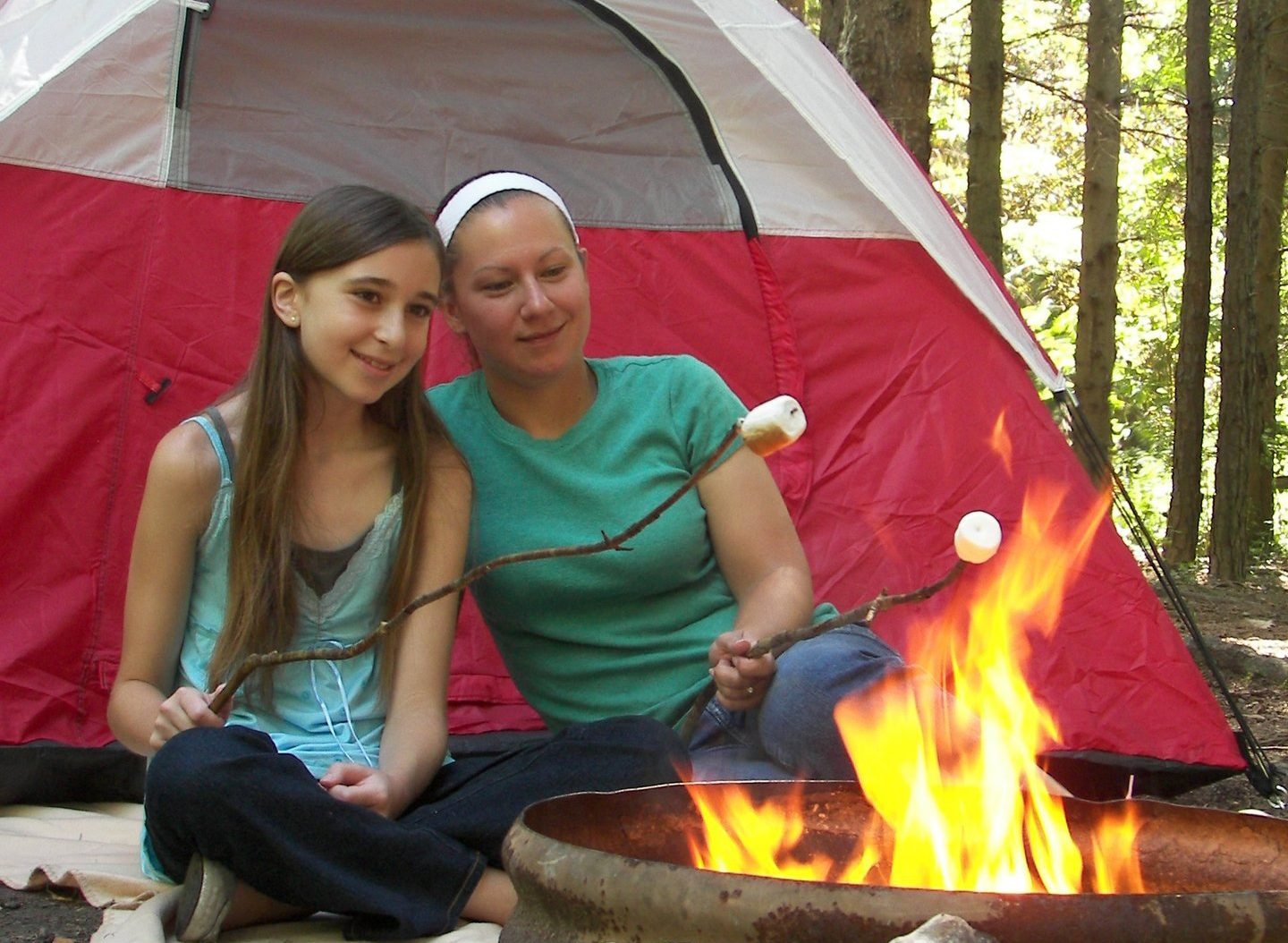 Campers around fire