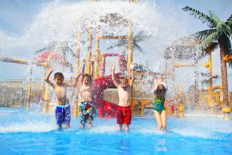 Children in splash pad at African Lion Safari
