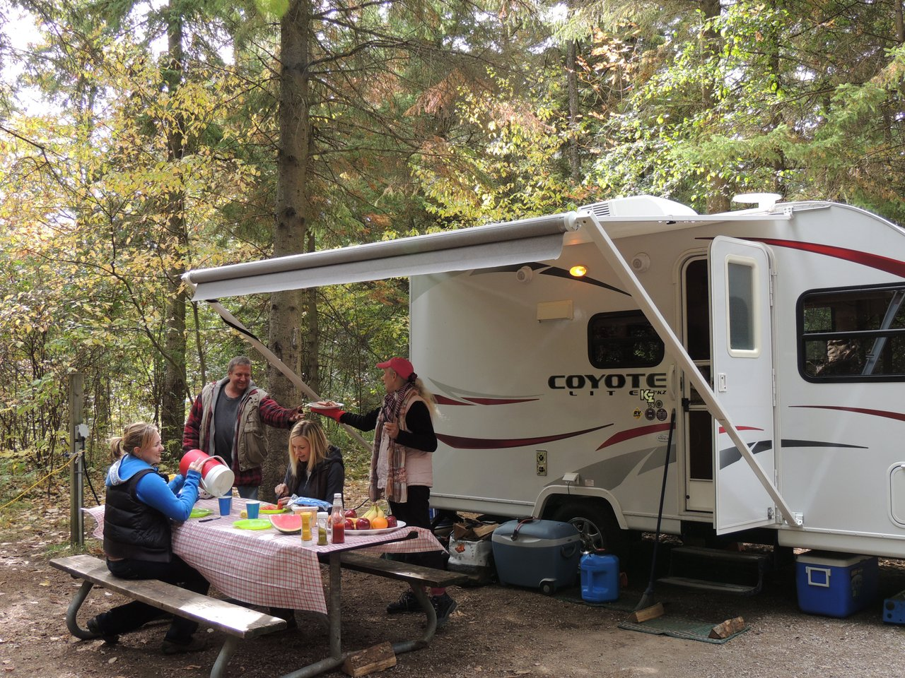 Motorhome campers at picnic table in woods