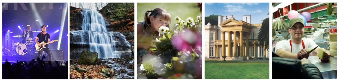 Collage of images - waterfalls, gardens, Dundurn, Farmers Market