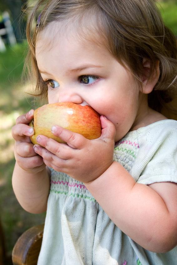 a little girl eating a nice crispy apple