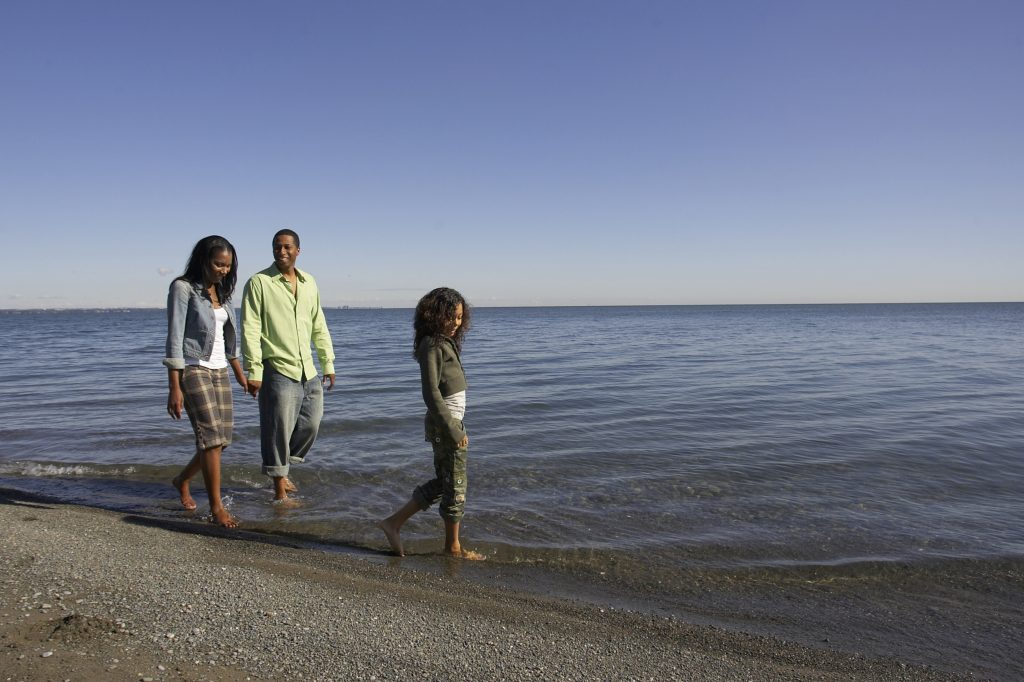 Family walking along beach